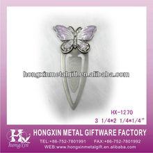 HX-1270 Purple buterfly metal bookmark ball pen