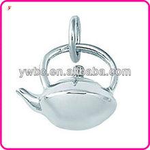 2013 new design tea pot rhodium plated pendant charm jewelry
