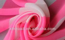 2013 Chiffon Pink Red White Printed Stripe Fabric