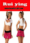 Sex Hot School Girl Costume,white Braces Pleated Skirt And pink Grid Dress