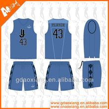 Professional design dry fit blue v-neck basketball wear/kits