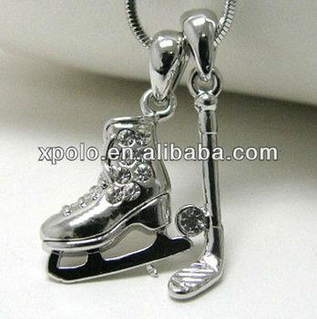 White gold plating crystal stud ice hockey theme dual pendant necklace
