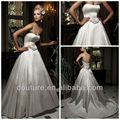 2013 novo estilo a linha strapless império cintura branco flor saudi arabian vestido de casamento com trem wd256