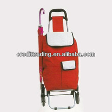 shopping trolley with detachable trolley and Dot Satin bag ,strong metal shelf trolley