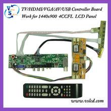 TV/HDMI/VGA/AV/USB/AUDIO pcb board work for 1440x900 4CCFL lcd Panel