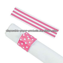 Candy Pink Stripes & Polka Dots Reversible Napkin Rings Wedding Decoration Bridal Shower Party Favor