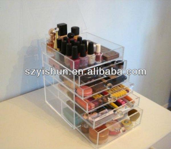 Fabricación de acrílico maquillaje cajas de almacenamiento