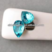 Latest stud earrings acid blue zircon earrings for girls