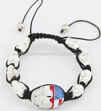 silver skull shamballa bracelet jewelry American flag