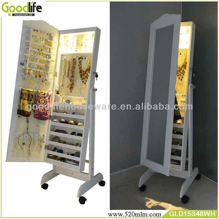 Wooden furniture mirrored jewelry cabinet in white color