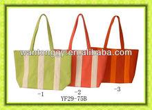 elegant classic striped rainbow design summer cheap canvas handbag
