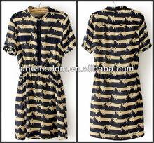 2013 summer europe printed cats lady chiffon dress