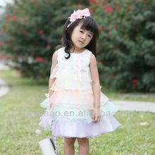 NOVEL DESIGN!! Rainbow princess design with flower pretty 3 year old girl dress
