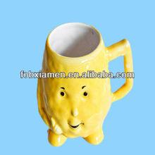 Vintage lemon head ceramic happy face mug