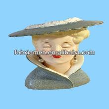 Antique decorotive ceramic lady head planter
