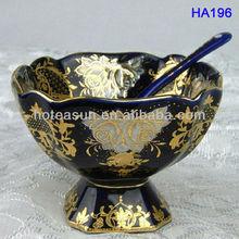 Blue porcelain gold rim ice cream mug with holder HA196