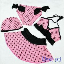 Hot Pink Black Polka Dots Bikini Set 4pcs (3-6Y)