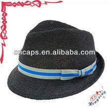 Black custom blank men paper straw fedora hat