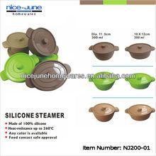 Dishwasher safe round silicone steamer with lid under FDA and LFGB