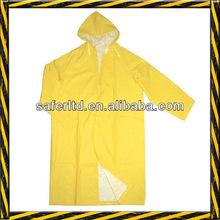Yellow waterproof pvc raincoat&rain coat (knee length)