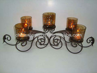 Spiral metal candle holder with 5 glass cup amber color votive candle stand for church decor vintage home decoration