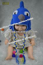 Cute milk cotton blue bird inspired kids crochet ear flap hat crochet toddler beanie
