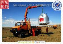 Benz 4*4 truck with 5-8 tons UNIC kunckle crane,Lorry-mounted crane.Algeria market +86 13597828741