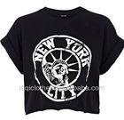 Black new york city print cropped t shirt/top/women clothing