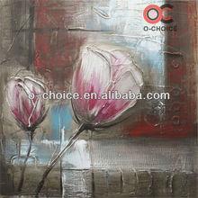 Pink rose flower handmade oil painting