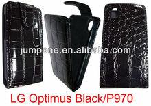 Crocodile leather flip case for LG Optimus P970 black