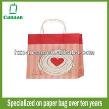 2015 beautiful pink kraft paper bag for shopping