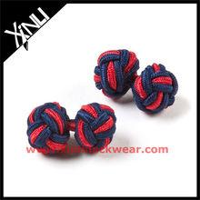 Navy Red Crossed Silk Knot Cufflink in Knot
