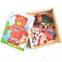 Wholesale bear dressing intelligence DIY wooden puzzle toy