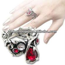 Fashion Gothic red ruby crystal Ring