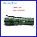 Uniquefire uf-p1 lanterna grama verde oxidação anódica cree xm-l u2 led zoom tocha deiluminação