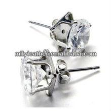 2013New Design big diamond stainless steel huggie earrings SE-0027