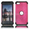 brillante duro híbrido de diamante bling acolchado de doble de nuevo caso para cubrir blackberry bb z10 de color rosa