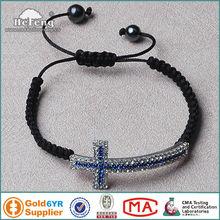Shamballa Sideway Cross Religious Knotted Bracelet
