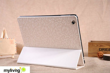 For ipad leather case,elegant diamond case for ipad 2 with 3 folders standing