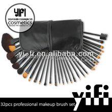 Pro 32pcs Makeup Brushes Set High Quality Blush Leather Case, flower kabuki brush