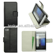 in black+ white color wallet stand genuine /real leather cases/covers for BlackBerry Z10