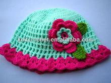 Cute Fashion Soft Milk Cotton Hand Knit Crochet Baby Beanie Hat with Hand Crochet Flower Applique (1020)