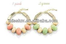 Antique fresh colorful oval beads bracelets,new design resin alloy bracelets,hot sell summer popular bracelets
