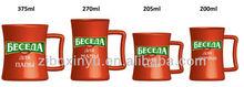 300cc Orange color ceramic tea cups with logo print FOR ZIBO XINYU
