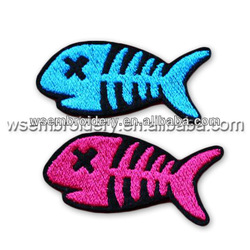 cat love fishing bone embroidery clothing accessories badges