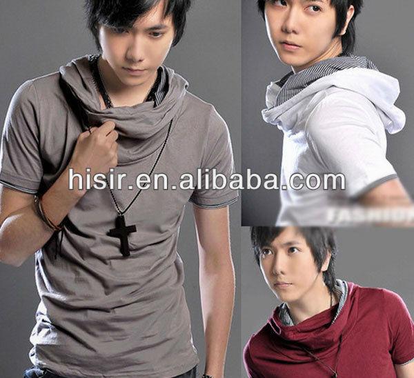 New Mens Stylish Slim Hooded Hoodies Boys Short Sleeve T-Shirts Shirt Tops