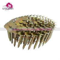 GI ring and screw coil nails in wood pallet and wooden furniture