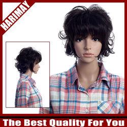 Perma-short wig Shaggy wavy hair hairdressing daily use