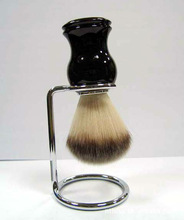 synthetic hair shaving brush with metal frame