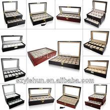 Slot Leather Wood Watch Box Display Case Organizer Glass Top Jewelry Storage